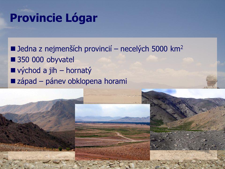 Provincie Lógar   Jedna z nejmenších provincií – necelých 5000 km 2   350 000 obyvatel   východ a jih – hornatý   západ – pánev obklopena hora