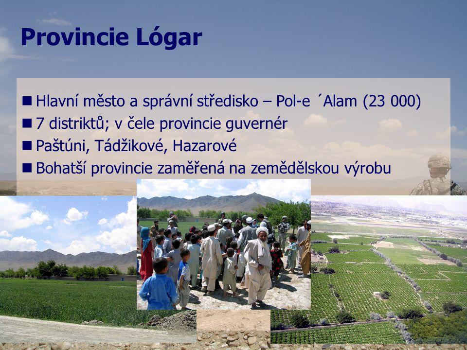 Provincie Lógar   Lógar – prosperující oblastí   Množství řek a zavlažovacích kanálů   Složitá bezpečnostní situace, ale stabilnější než v sousedních provinciích   Opakované žádosti guvernéra o zřízení PRT