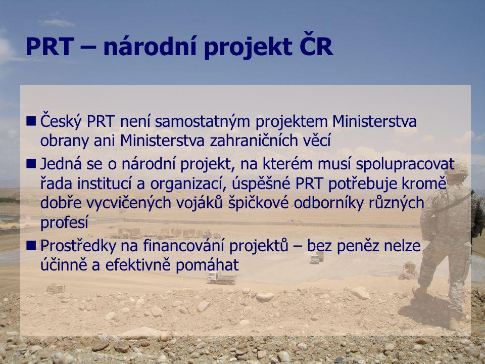   Český PRT není samostatným projektem Ministerstva obrany ani Ministerstva zahraničních věcí   Jedná se o národní projekt, na kterém musí spolupr