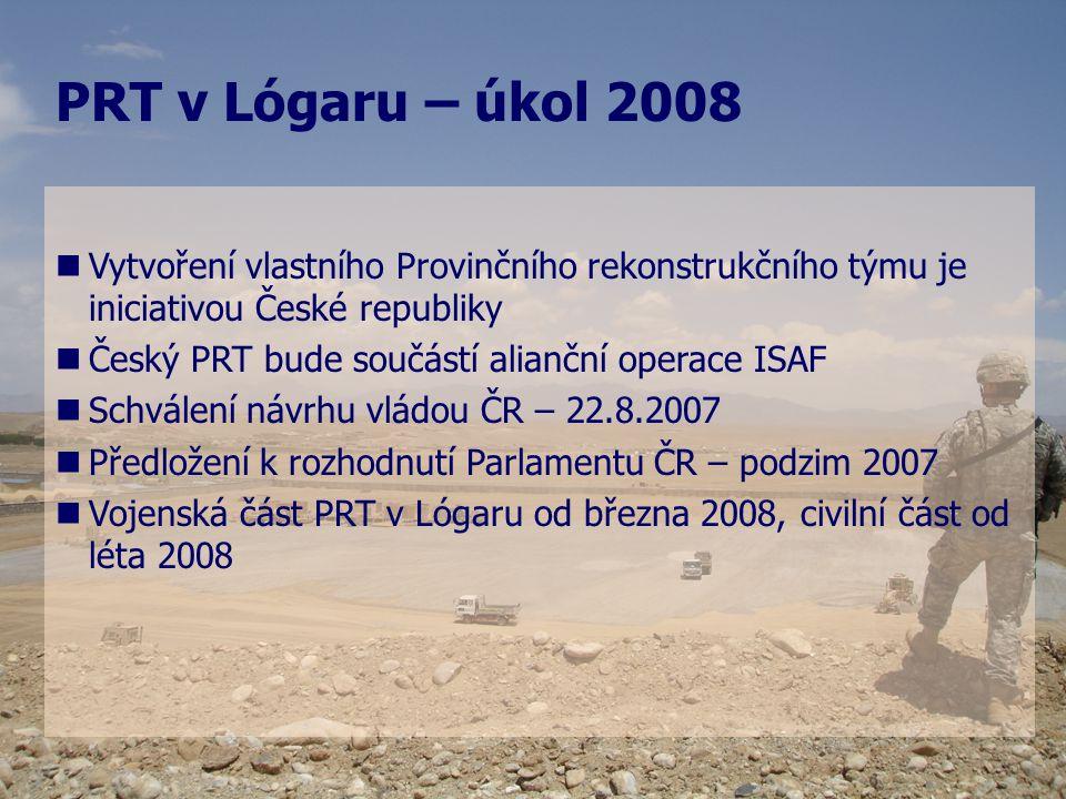   Vytvoření vlastního Provinčního rekonstrukčního týmu je iniciativou České republiky   Český PRT bude součástí alianční operace ISAF   Schválen