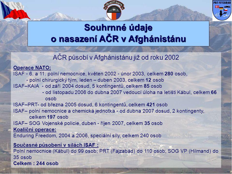 Souhrnné údaje o nasazení AČR v Afghánistánu AČR působí v Afghánistánu již od roku 2002 Operace NATO: ISAF - 6. a 11. polní nemocnice, květen 2002 - ú