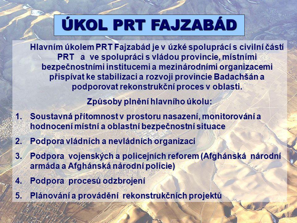 Hlavním úkolem PRT Fajzabád je v úzké spoluprácí s civilní částí PRT a ve spolupráci s vládou provincie, místními bezpečnostními institucemi a mezinár
