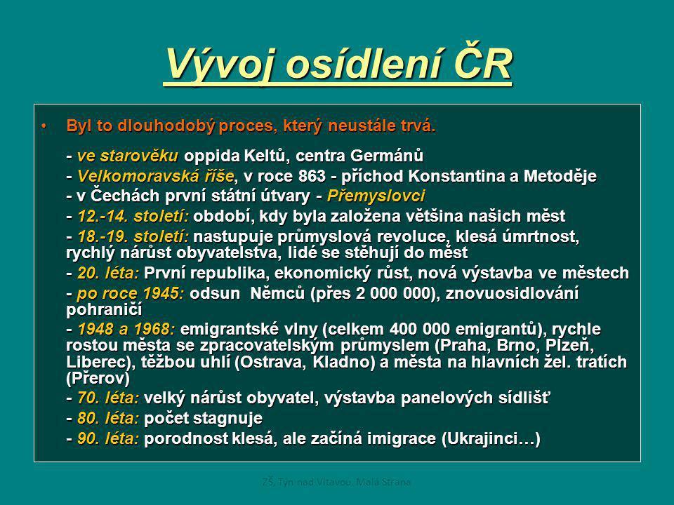 Vývoj osídlení ČR •Byl to dlouhodobý proces, který neustále trvá. - ve starověku oppida Keltů, centra Germánů - Velkomoravská říše, v roce 863 - přích