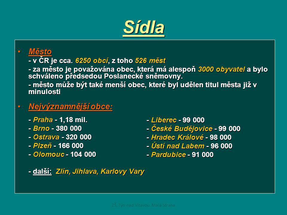 Sídla •Město - v ČR je cca. 6250 obcí, z toho 526 měst - za město je považována obec, která má alespoň 3000 obyvatel a bylo schváleno předsedou Poslan