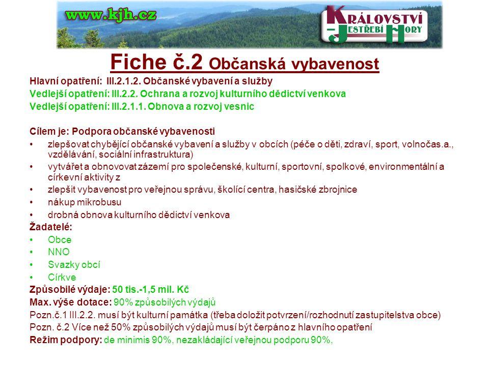 Fiche č.2 Občanská vybavenost Hlavní opatření: III.2.1.2.
