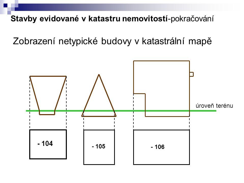 Stavby evidované v katastru nemovitostí-pokračování Zobrazení netypické budovy v katastrální mapě - 104 - 105 - 106 úroveň terénu