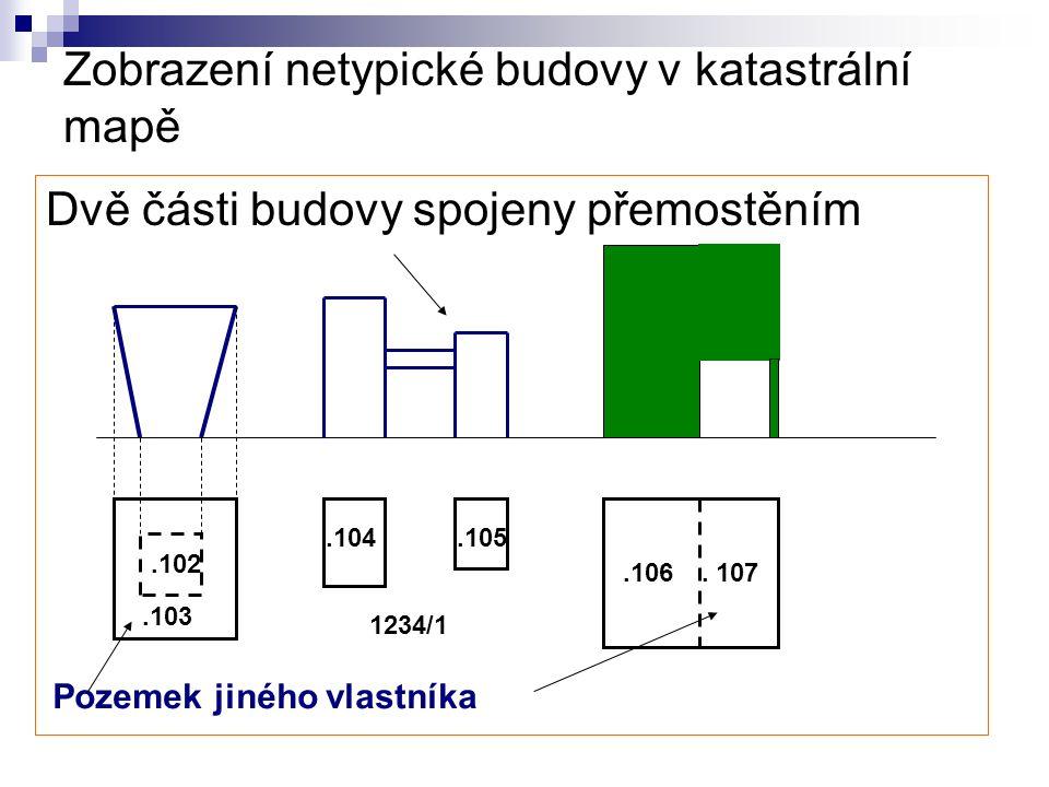 Zobrazení netypické budovy v katastrální mapě Dvě části budovy spojeny přemostěním.102.104.105.106. 107 Pozemek jiného vlastníka.103 1234/1