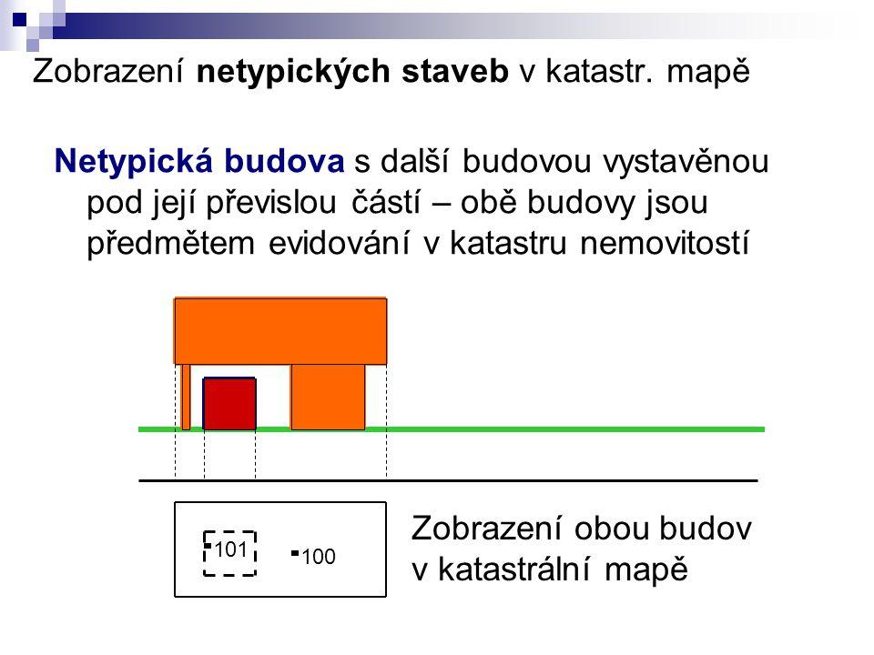 Zobrazení netypických staveb v katastr. mapě Netypická budova s další budovou vystavěnou pod její převislou částí – obě budovy jsou předmětem evidován