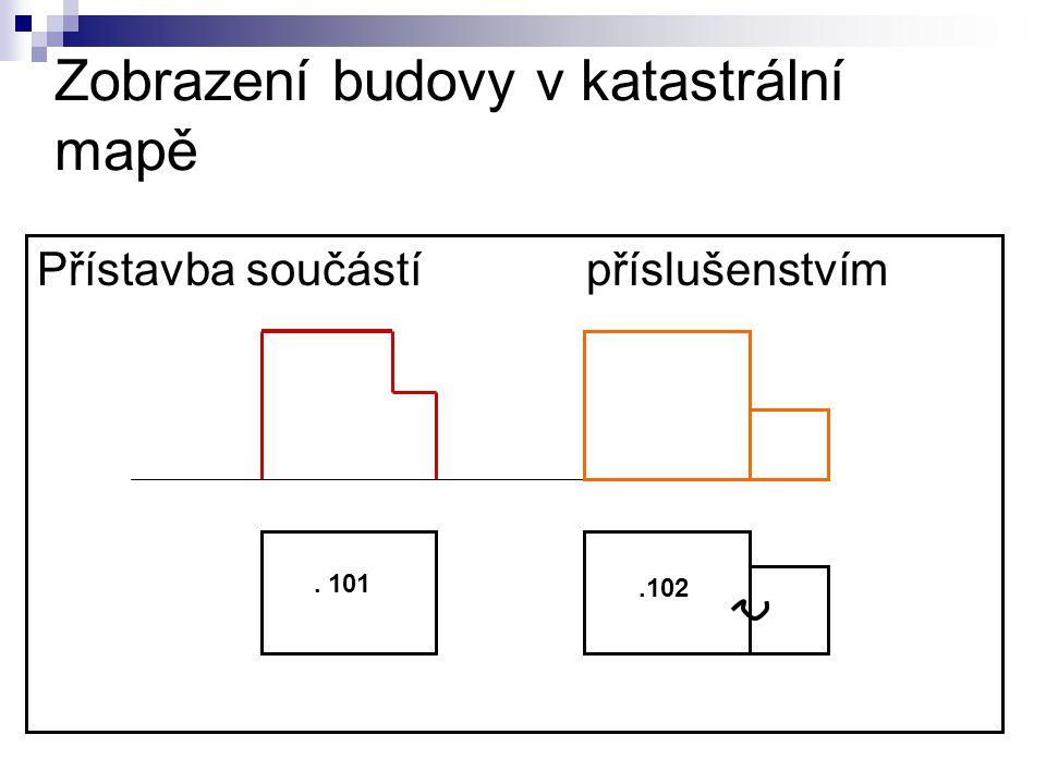 Zobrazení budovy v katastrální mapě Přístavba součástí příslušenstvím. 101.102