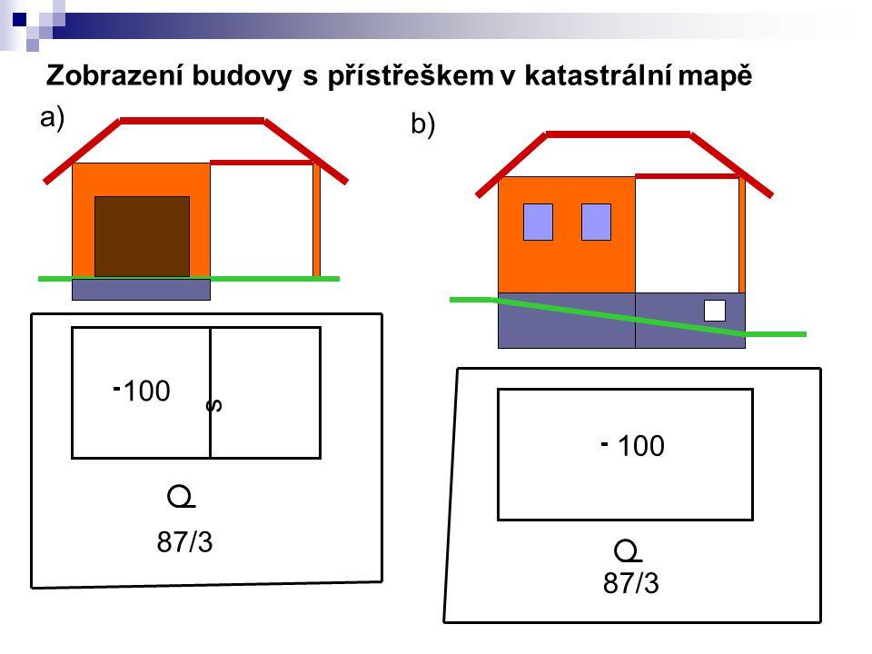 100 s 87/3 100 87/3 a) b) Zobrazení budovy s přístřeškem v katastrální mapě