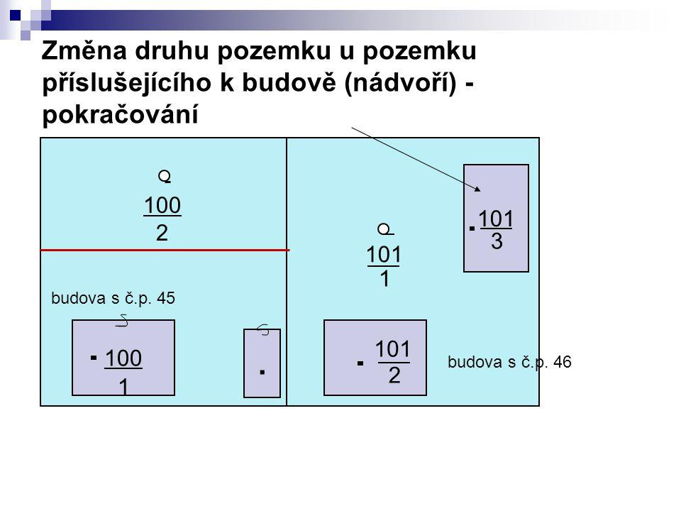 Změna druhu pozemku u pozemku příslušejícího k budově (nádvoří) - pokračování 100. 101 1 2 3 budova s č.p. 46 budova s č.p. 45 100 2 1
