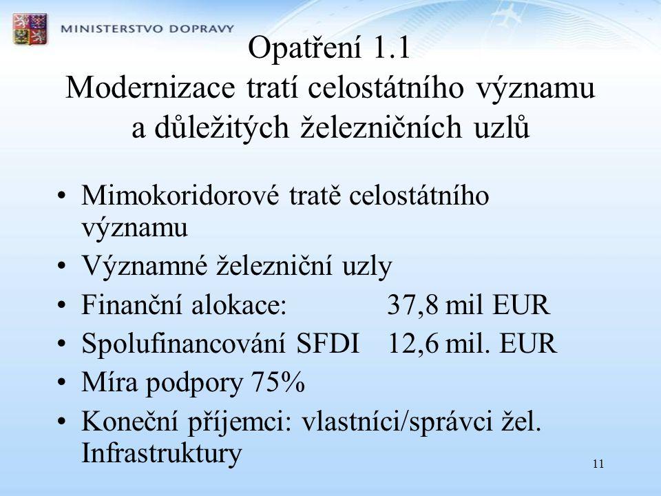 11 Opatření 1.1 Modernizace tratí celostátního významu a důležitých železničních uzlů •Mimokoridorové tratě celostátního významu •Významné železniční uzly •Finanční alokace:37,8 mil EUR •Spolufinancování SFDI 12,6 mil.