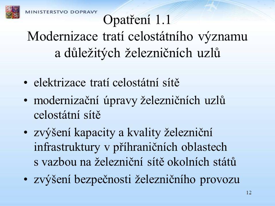 12 Opatření 1.1 Modernizace tratí celostátního významu a důležitých železničních uzlů •elektrizace tratí celostátní sítě •modernizační úpravy železnič