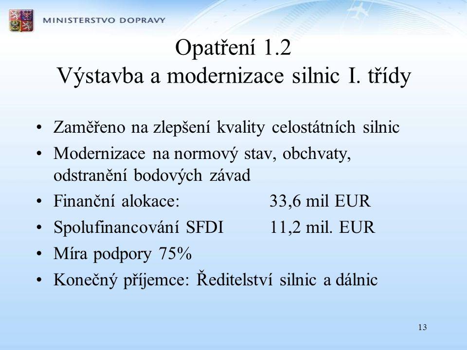 13 Opatření 1.2 Výstavba a modernizace silnic I. třídy •Zaměřeno na zlepšení kvality celostátních silnic •Modernizace na normový stav, obchvaty, odstr