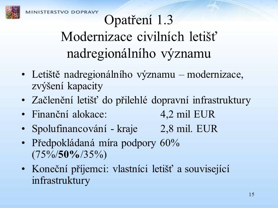 15 Opatření 1.3 Modernizace civilních letišť nadregionálního významu •Letiště nadregionálního významu – modernizace, zvýšení kapacity •Začlenění letišť do přilehlé dopravní infrastruktury •Finanční alokace:4,2 mil EUR •Spolufinancování - kraje 2,8 mil.