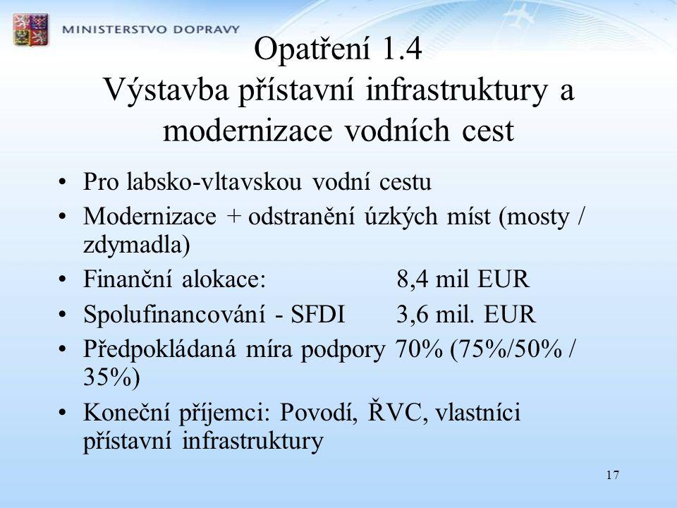 17 Opatření 1.4 Výstavba přístavní infrastruktury a modernizace vodních cest •Pro labsko-vltavskou vodní cestu •Modernizace + odstranění úzkých míst (