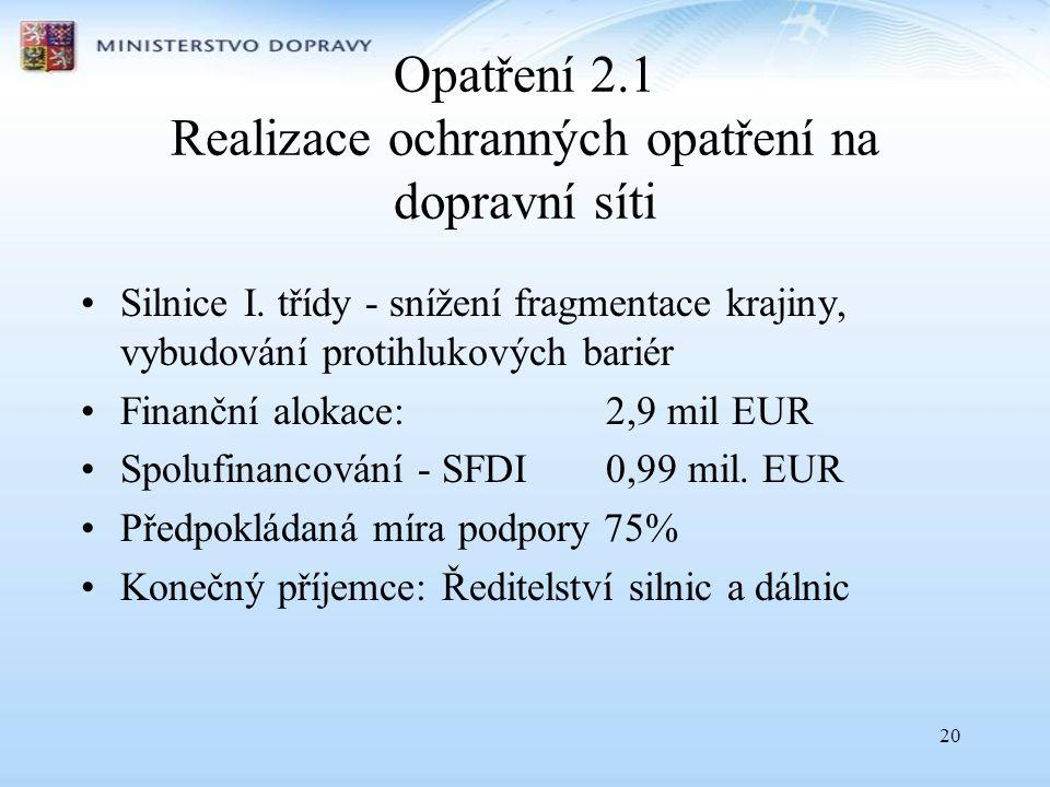20 Opatření 2.1 Realizace ochranných opatření na dopravní síti •Silnice I.