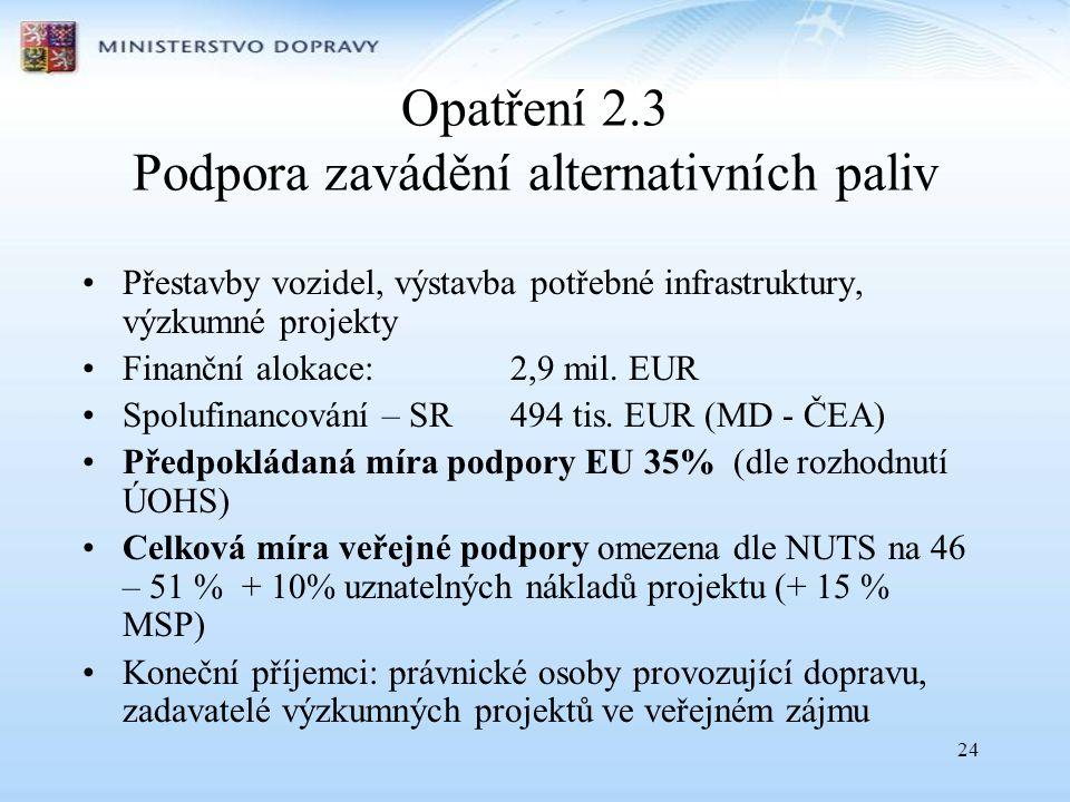 24 Opatření 2.3 Podpora zavádění alternativních paliv •Přestavby vozidel, výstavba potřebné infrastruktury, výzkumné projekty •Finanční alokace: 2,9 mil.