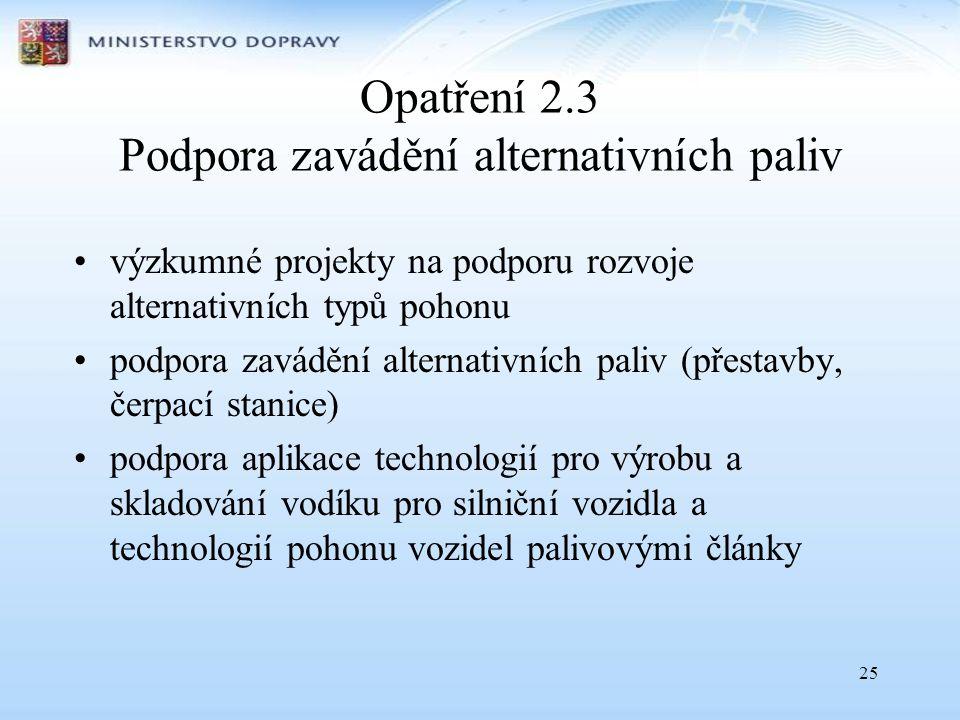 25 Opatření 2.3 Podpora zavádění alternativních paliv •výzkumné projekty na podporu rozvoje alternativních typů pohonu •podpora zavádění alternativníc
