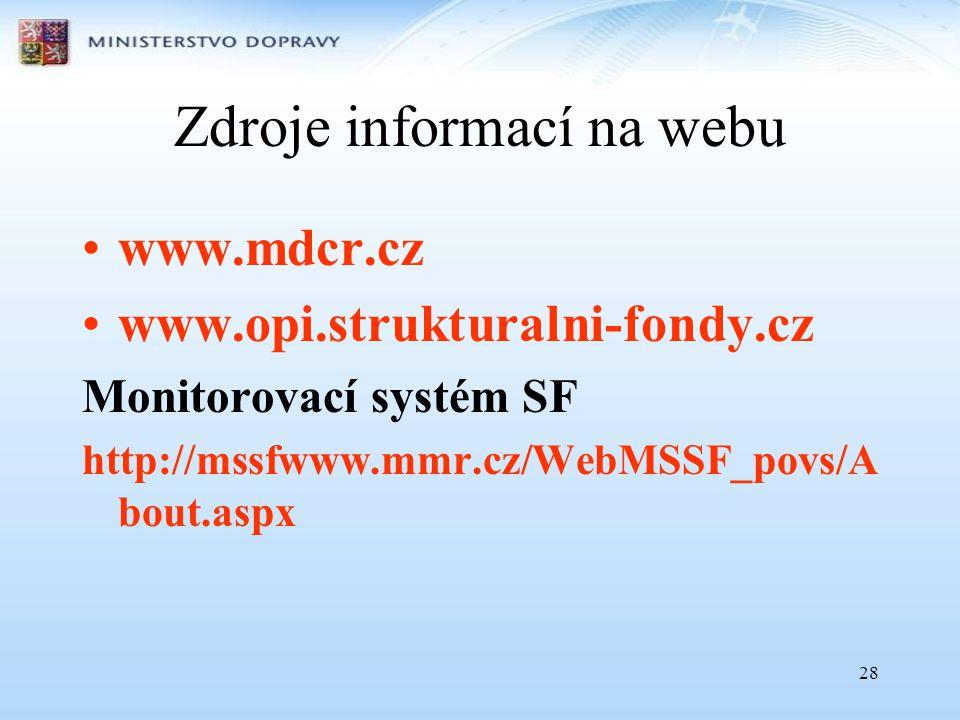 28 Zdroje informací na webu •www.mdcr.cz •www.opi.strukturalni-fondy.cz Monitorovací systém SF http://mssfwww.mmr.cz/WebMSSF_povs/A bout.aspx