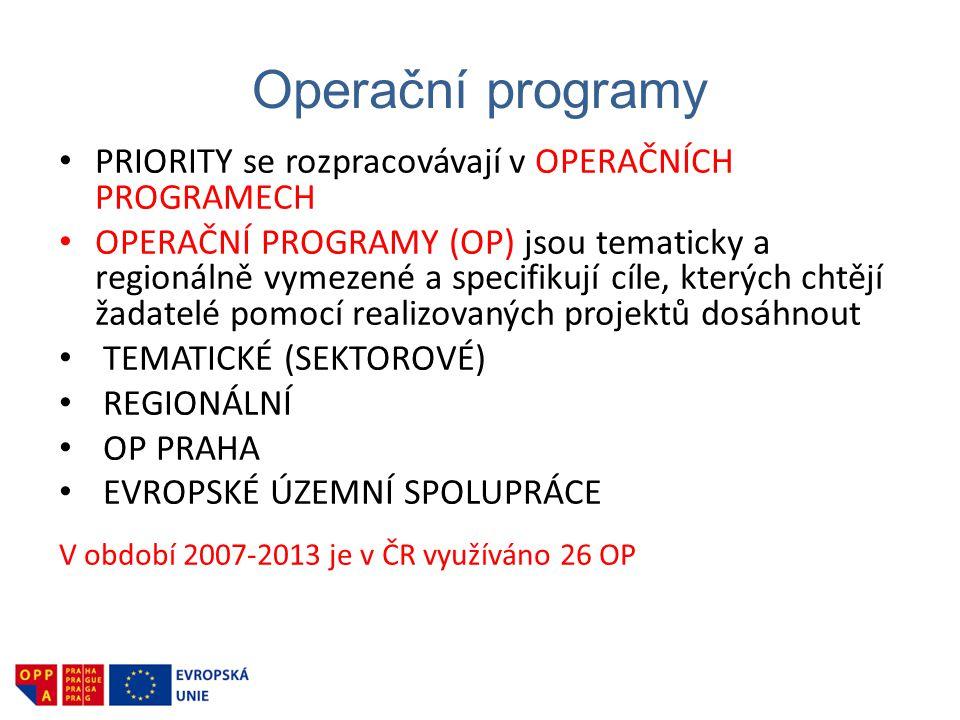 Operační programy • PRIORITY se rozpracovávají v OPERAČNÍCH PROGRAMECH • OPERAČNÍ PROGRAMY (OP) jsou tematicky a regionálně vymezené a specifikují cíl