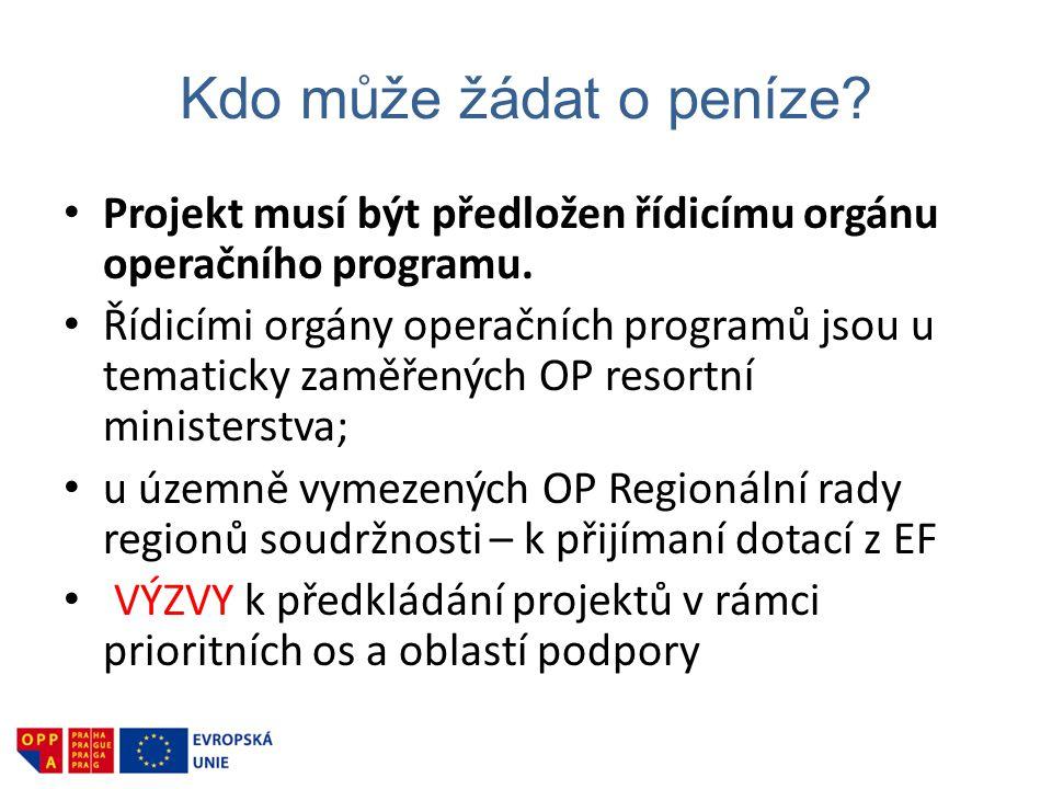 Kdo může žádat o peníze? • Projekt musí být předložen řídicímu orgánu operačního programu. • Řídicími orgány operačních programů jsou u tematicky zamě