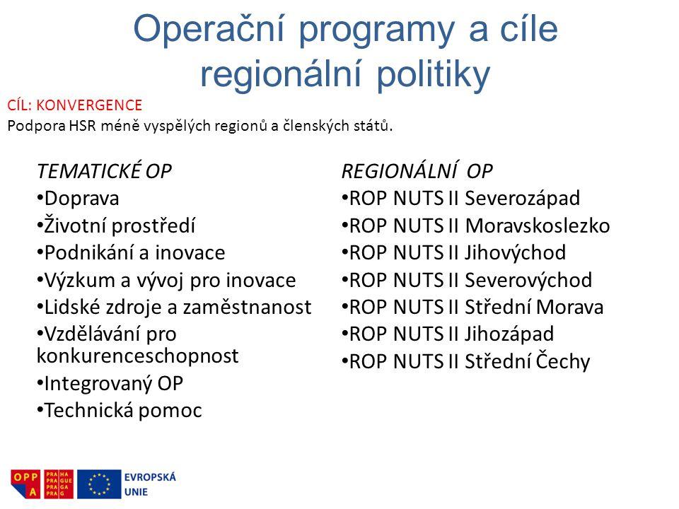 Operační programy a cíle regionální politiky TEMATICKÉ OP • Doprava • Životní prostředí • Podnikání a inovace • Výzkum a vývoj pro inovace • Lidské zd