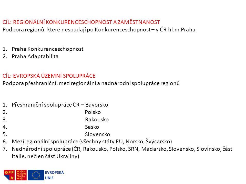 CÍL: REGIONÁLNÍ KONKURENCESCHOPNOST A ZAMĚSTNANOST Podpora regionů, které nespadají po Konkurenceschopnost – v ČR hl.m.Praha 1.Praha Konkurenceschopno