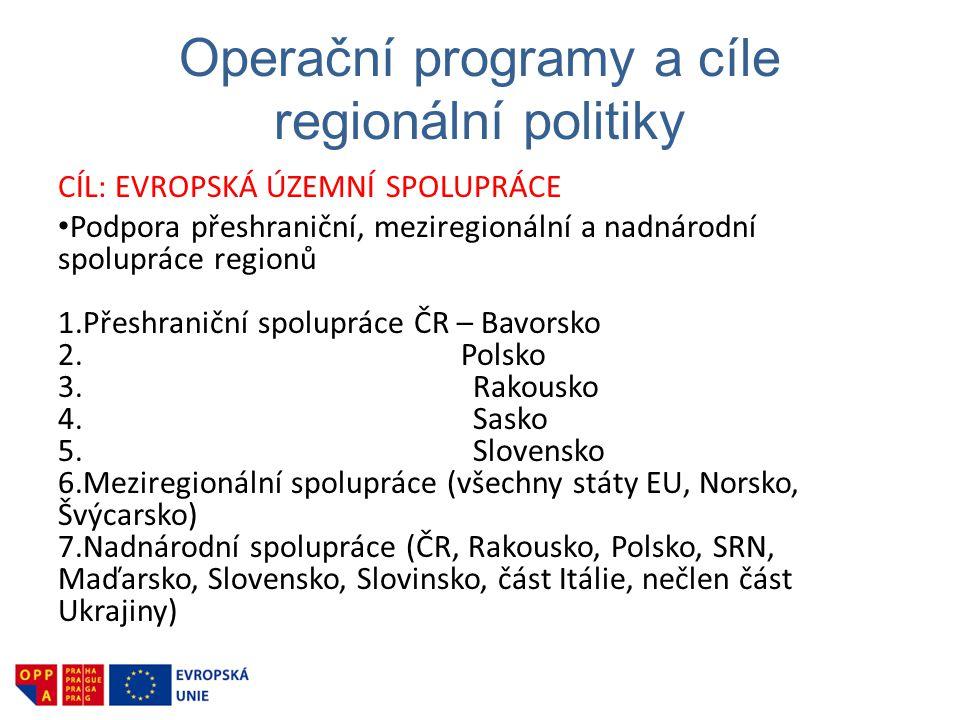 Operační programy a cíle regionální politiky CÍL: EVROPSKÁ ÚZEMNÍ SPOLUPRÁCE • Podpora přeshraniční, meziregionální a nadnárodní spolupráce regionů 1.Přeshraniční spolupráce ČR – Bavorsko 2.