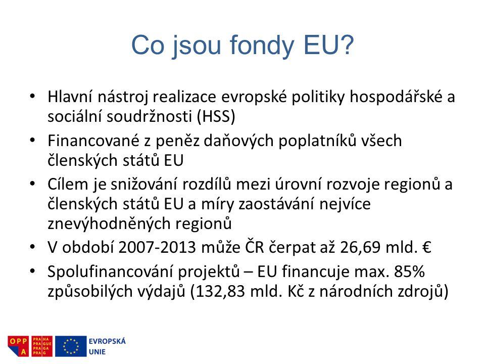 Co jsou fondy EU? • Hlavní nástroj realizace evropské politiky hospodářské a sociální soudržnosti (HSS) • Financované z peněz daňových poplatníků všec