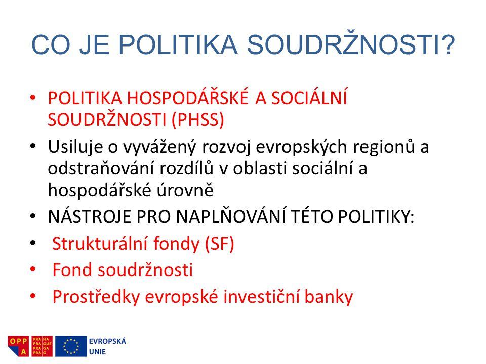CO JE POLITIKA SOUDRŽNOSTI? • POLITIKA HOSPODÁŘSKÉ A SOCIÁLNÍ SOUDRŽNOSTI (PHSS) • Usiluje o vyvážený rozvoj evropských regionů a odstraňování rozdílů