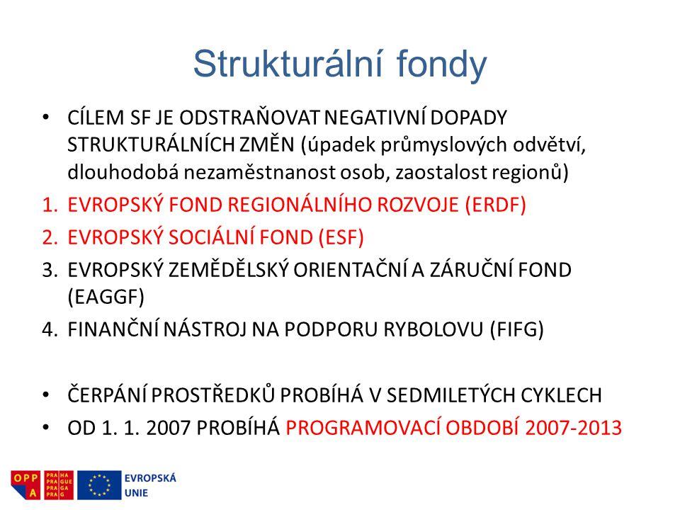 Strukturální fondy • CÍLEM SF JE ODSTRAŇOVAT NEGATIVNÍ DOPADY STRUKTURÁLNÍCH ZMĚN (úpadek průmyslových odvětví, dlouhodobá nezaměstnanost osob, zaostalost regionů) 1.EVROPSKÝ FOND REGIONÁLNÍHO ROZVOJE (ERDF) 2.EVROPSKÝ SOCIÁLNÍ FOND (ESF) 3.EVROPSKÝ ZEMĚDĚLSKÝ ORIENTAČNÍ A ZÁRUČNÍ FOND (EAGGF) 4.FINANČNÍ NÁSTROJ NA PODPORU RYBOLOVU (FIFG) • ČERPÁNÍ PROSTŘEDKŮ PROBÍHÁ V SEDMILETÝCH CYKLECH • OD 1.