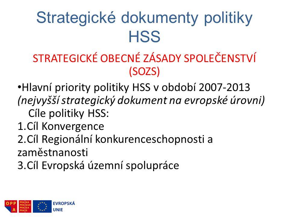 Strategické dokumenty politiky HSS STRATEGICKÉ OBECNÉ ZÁSADY SPOLEČENSTVÍ (SOZS) • Hlavní priority politiky HSS v období 2007-2013 (nejvyšší strategický dokument na evropské úrovni) Cíle politiky HSS: 1.Cíl Konvergence 2.Cíl Regionální konkurenceschopnosti a zaměstnanosti 3.Cíl Evropská územní spolupráce