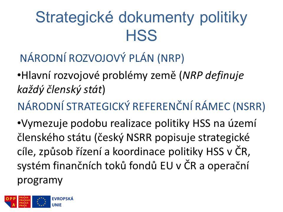 Strategické dokumenty politiky HSS NÁRODNÍ ROZVOJOVÝ PLÁN (NRP) • Hlavní rozvojové problémy země (NRP definuje každý členský stát) NÁRODNÍ STRATEGICKÝ REFERENČNÍ RÁMEC (NSRR) • Vymezuje podobu realizace politiky HSS na území členského státu (český NSRR popisuje strategické cíle, způsob řízení a koordinace politiky HSS v ČR, systém finančních toků fondů EU v ČR a operační programy