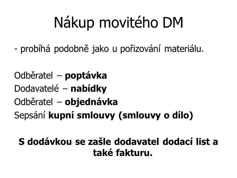 Nákup movitého DM - probíhá podobně jako u pořizování materiálu.