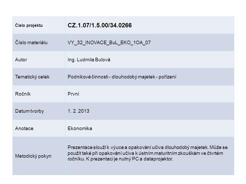 Číslo projektu CZ.1.07/1.5.00/34.0266 Číslo materiáluVY_32_INOVACE_BuL_EKO_1OA_07 AutorIng.