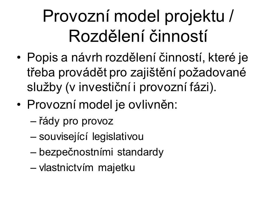 Provozní model projektu / Rozdělení činností •Popis a návrh rozdělení činností, které je třeba provádět pro zajištění požadované služby (v investiční