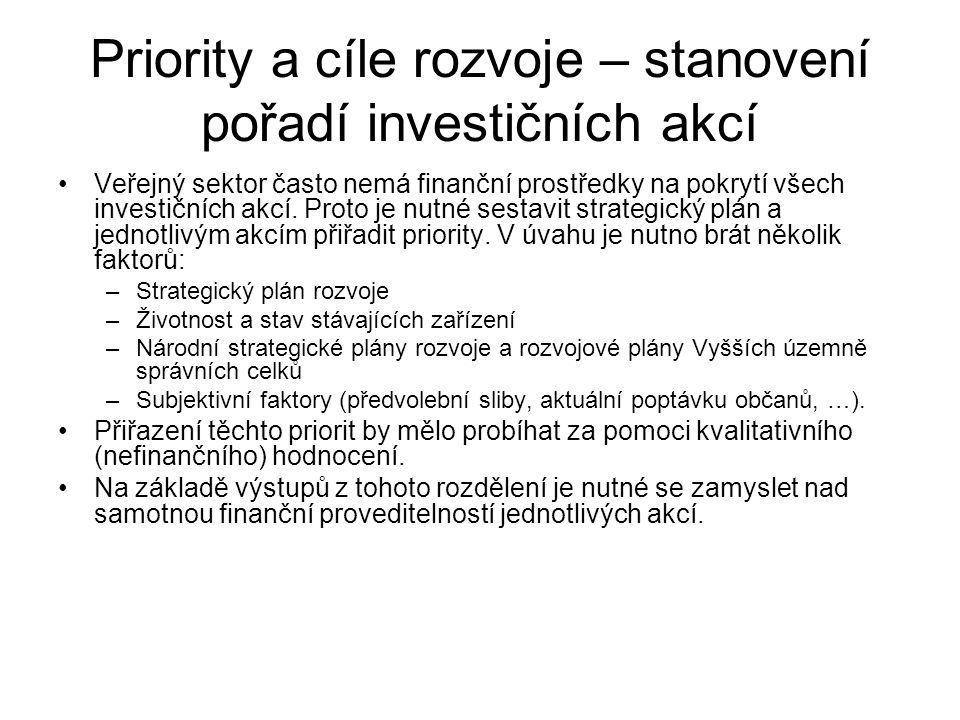Priority a cíle rozvoje – stanovení pořadí investičních akcí •Veřejný sektor často nemá finanční prostředky na pokrytí všech investičních akcí. Proto