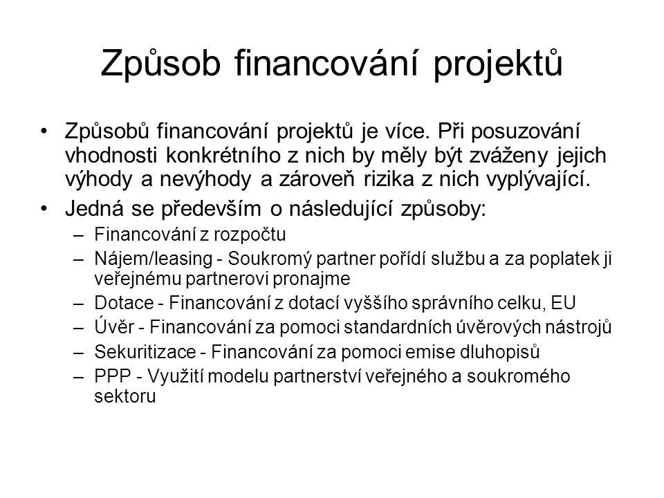 Způsob financování projektů •Způsobů financování projektů je více. Při posuzování vhodnosti konkrétního z nich by měly být zváženy jejich výhody a nev