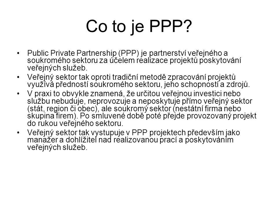 Co to je PPP? •Public Private Partnership (PPP) je partnerství veřejného a soukromého sektoru za účelem realizace projektů poskytování veřejných služe
