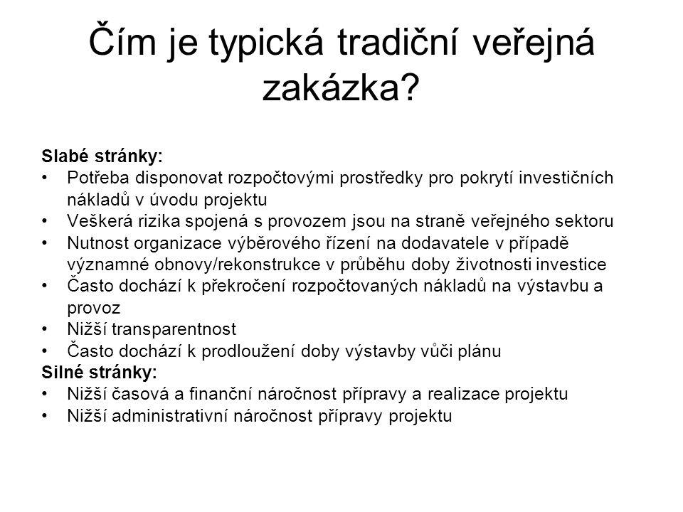 Čím je typická tradiční veřejná zakázka? Tradiční veřejná zakázka Slabé stránky: •Potřeba disponovat rozpočtovými prostředky pro pokrytí investičních