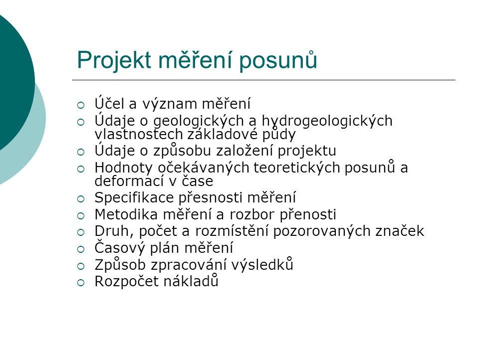 Projekt měření posunů  Účel a význam měření  Údaje o geologických a hydrogeologických vlastnostech základové půdy  Údaje o způsobu založení projekt