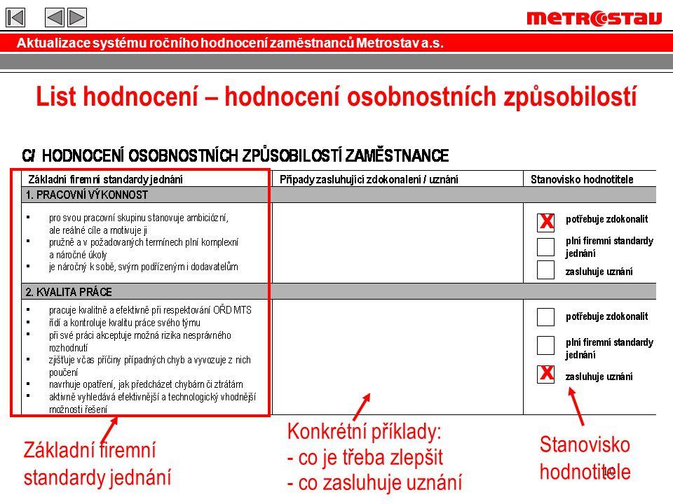 Aktualizace systému ročního hodnocení zaměstnanců Metrostav a.s. 10 List hodnocení – hodnocení osobnostních způsobilostí X X Základní firemní standard