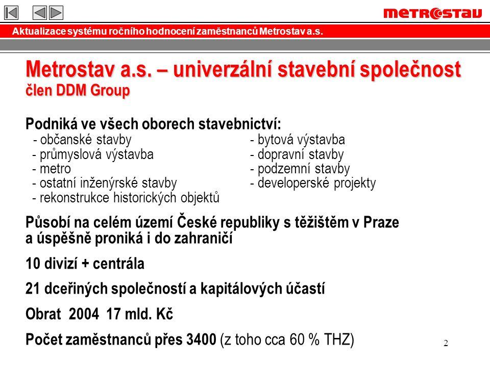 Aktualizace systému ročního hodnocení zaměstnanců Metrostav a.s.