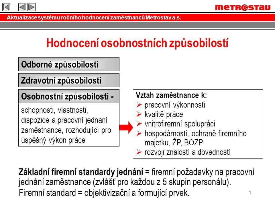 Aktualizace systému ročního hodnocení zaměstnanců Metrostav a.s. 7 Hodnocení osobnostních způsobilostí Odborné způsobilosti Zdravotní způsobilosti Oso