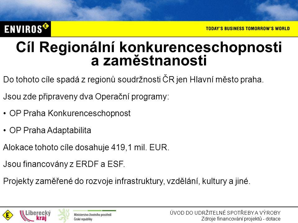 Cíl Regionální konkurenceschopnosti a zaměstnanosti Do tohoto cíle spadá z regionů soudržnosti ČR jen Hlavní město praha.