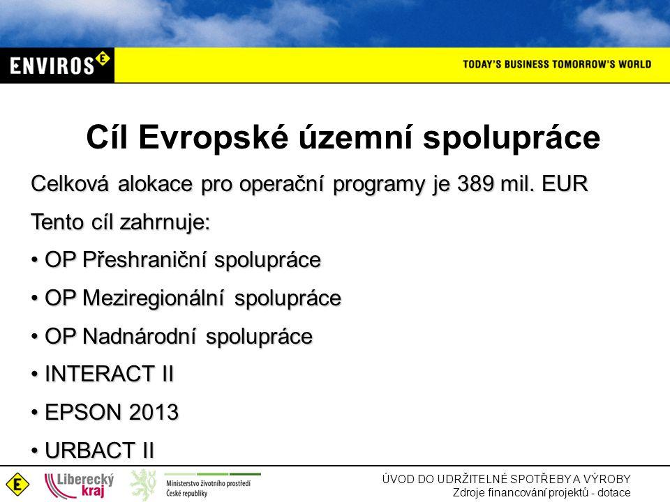 Cíl Evropské územní spolupráce Celková alokace pro operační programy je 389 mil.