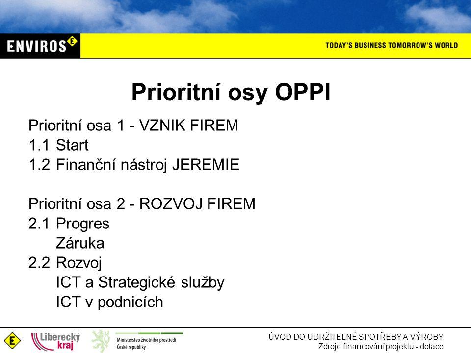 ÚVOD DO UDRŽITELNÉ SPOTŘEBY A VÝROBY Zdroje financování projektů - dotace Prioritní osy OPPI Prioritní osa 1 - VZNIK FIREM 1.1Start 1.2Finanční nástro