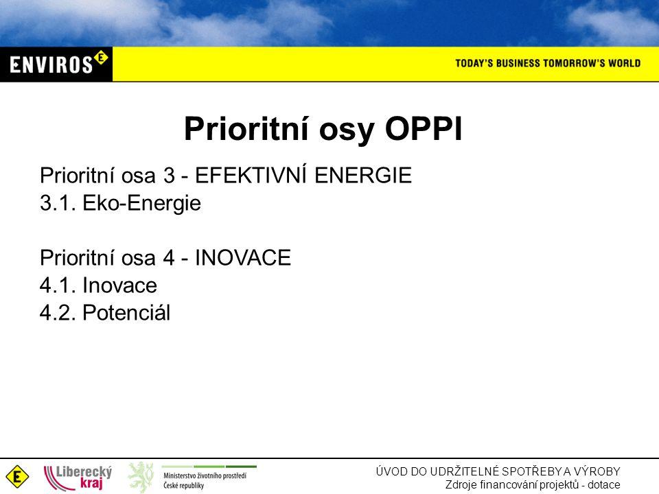 ÚVOD DO UDRŽITELNÉ SPOTŘEBY A VÝROBY Zdroje financování projektů - dotace Prioritní osy OPPI Prioritní osa 3 - EFEKTIVNÍ ENERGIE 3.1. Eko-Energie Prio