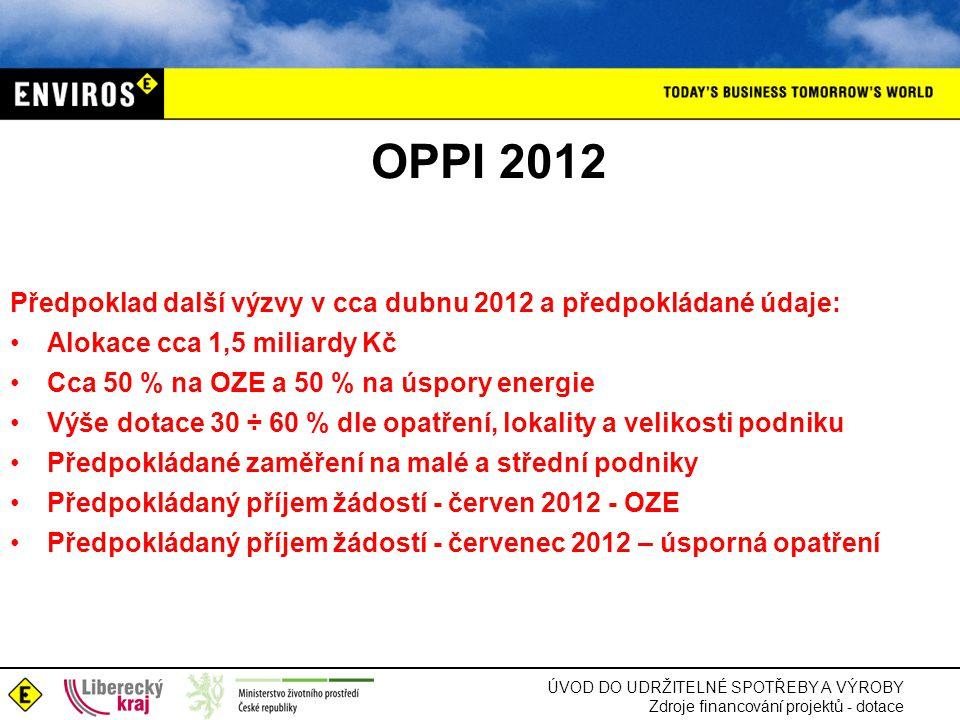 ÚVOD DO UDRŽITELNÉ SPOTŘEBY A VÝROBY Zdroje financování projektů - dotace OPPI 2012 Předpoklad další výzvy v cca dubnu 2012 a předpokládané údaje: •Al